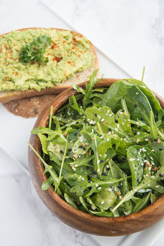 Avocado Toast & Lemon Garlic Salad