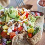 taco salad with tortilla bowl